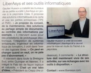 Article Liberasys dans Ouest France - 20150421
